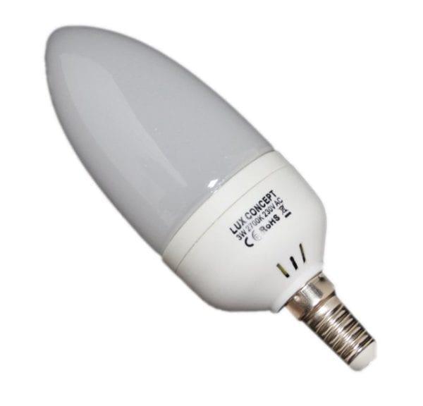 Lâmpada LED E14 Vela Opaca 3W