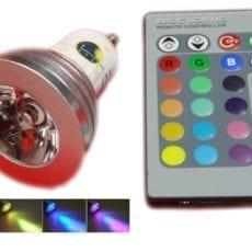 Lâmpada LED GU10 5W RGB + Comando